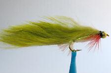 1 x Mouche de Peche Streamer Zonker Olive BILLE H8/10/12 alevin fly tying fly