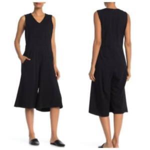 Eileen Fisher Soft V Neck Sleeveless Cropped Jumpsuit Black Pockets $298