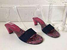 L.k.Bennett Navy Blue Pink Leather Denim Mules Sandals Size 5