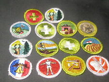 Merit Badges,  14 Solids with Cloth Backs, used      TMB09