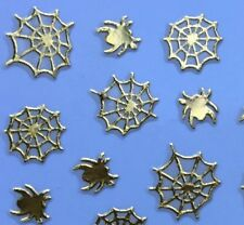 Nail Art 3D Sticker Metal like Gold Halloween Spider & Web 36 pcs NEW & RARE