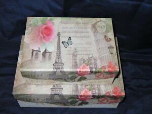 Paper covered, nesting gift box set Vintage Paris/Rome theme