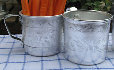 2 Vintage Inspired Thai Traditional Pressed Aluminum Mug Glass Drinking Cup
