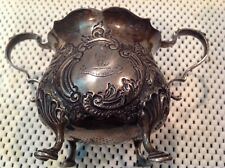 """ANTIQUE STERLING SILVER SUGAR BOWL , GOLDSMITHS SILVERSMITHS,""""TRUE TO THE END"""""""