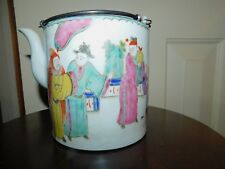 ANTIQUE CHINESE oriental PORCELAIN TEAPOT with script verse signed