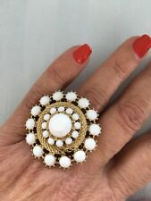 Fashion Ring - White Rossette - Size 8, Gold Tone Metal and Attractive Setting