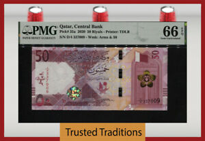 TT PK 35a 2020 QATAR CENTRAL BANK 50 RIYALS PMG 66 EPQ GEM UNCIRCULATED!