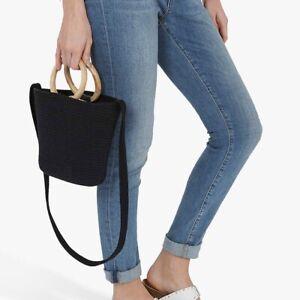 Mint Velvet Esther Mini Woven Tote Bag in Black Wooden Handles Grab Shoulder