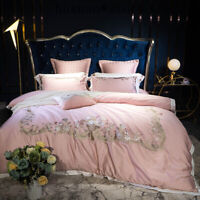 4/7Pcs Egyptian Cotton Bedding Set Queen King Size Bed  Embroidery Duvet Cover