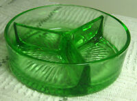 "Green Glass Dish, 3 Divided Sections, 1.5"" x 5"", 12 oz, Candy / Condiment Dish."