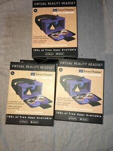 Smart Theater Virtual Reality Deluxe Cardboard Headset - Blue Lot of 3