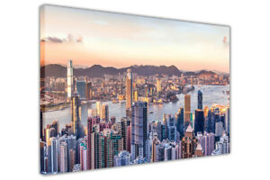 Iconic Skyscrapers of Hong Kong at Sunset on Canvas Print Wall Picture Office