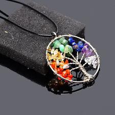 Natural Quartz Crystal Gemstone 7 Chakra Healing Tree of Life Pendant Necklace