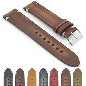 StrapsCo Extra Long Vintage Faded Distressed Hand Stitched Watch Band Strap