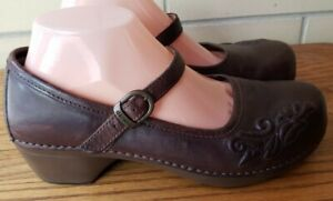 Dansko Womens Mary Jane Strap Buckle Clogs Mules Floral Shoes Brown Sz 10.5-11