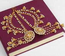 Indian Handmade Bollywood Bahubali Earrings With Kaan Chain Polki Jewelry Set