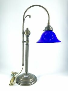 Table Lamp Office Desk Brass And Glass Blue Banker With Curls
