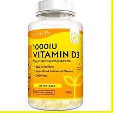 Vitamine D3, 1000 IU, 365 Gélules, Articulations Os Dents Bonne Santé Immunisé