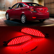 2pcs LED Lens Rear Bumper Reflector Brake Light For Hyundai Accent Sedan 2008-15