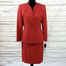 Le Suit Petite Women's 2PC Skirt Suit Blazer Buttons Red Embroidered Size 10P