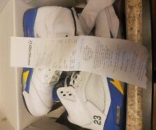 """Air Jordan Retro 5 """"Laney"""" White Varsity Royal Size 12 2013 V Five Good Shape"""