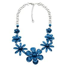 Retro style blue connected flower chain necklace