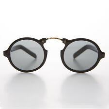 Rounnd Aviator Great Gatsby Vintage Sunglass w/ Arched Bridge Black/Gold- GRANT