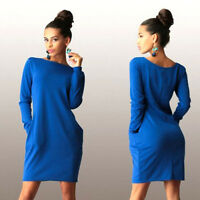 Women Crew-neck Long Sleeve Casual Solid Ladies Spring Autumn Loose Short Dress