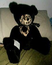 """Carla Kulka 18"""" Handmade Teddy Bear     black mohair leopard print HAVE A HEART"""