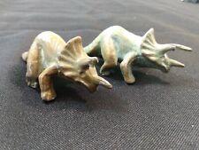 Mid Century SRG Co. 2 Triceratops Prehistoric Dinosaur Figure Bronze Metal