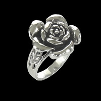 Large Rose Flower Statement Ring 925 Solid Sterling Silver Gorgeous! Size 7-10
