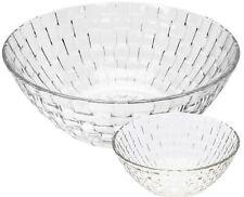 7 Piece Salad Bowl Set 1 Large Bowl& 6 Matching Small Glass Bowls Punch Bowls