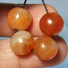 4 RARE ANTIQUE BANDED CARNELIAN / AGATE BEADS (13mm to 13.3mm)