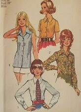 Lovely VTG 72 SIMPLICITY 5022 Misses Shirts or Blouses & Tie PATTERN 10/32.5B