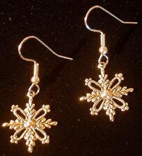 Snowflake Earrings 24 Karat Gold Plate Detailed Dangles