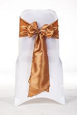 100 Orange brûlé Taffetas - Housse De Chaise Mariage Ceinture Arc Fête GB