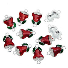 10pcs Enamel Alloy Christmas Bells Shape Crafts Pendant Charms Jewelry Making
