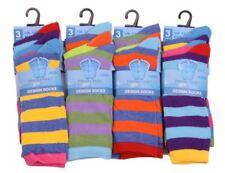 Boys Stripe Design Socks Cotton Rich Vibrant Coloured School Socks 12 Pairs New