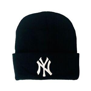 NEW Unisex New York Yankees Beanie Skull Cap Cuff Winter Warm Black One Size