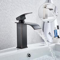 Bathroom Vanity Sink Faucet Basin Waterfall Deck Mount Mixer Tap Single Handle