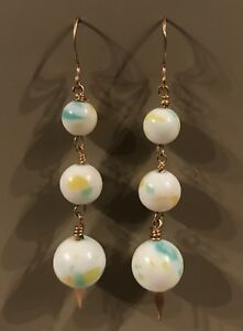 Vintage Miriam Haskell Style Beaded swirled lucite tiered Dangle Holiday Earring