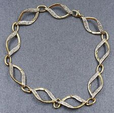 10ct Yellow Gold & Diamond Nine Link Ladies Bracelet Length: 20cm