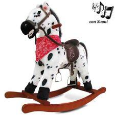 Cavallo a Dondolo Con Effetti Sonori Realistici Legno e Peluche Bambini Infanzia
