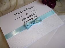 50 WINTER WEDDING INVITATIONS 5 X 7 Personalised Embossed Snowflakes HANDMADE