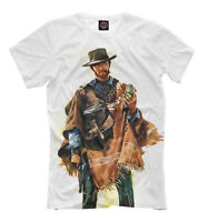 Clint Eastwood t-shirt - wild west style white print western tee cowboy