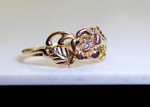 Gorgeous Estate 10K Rose & Yellow Gold .04 Ct RB Diamond Sol Ladies Ring Size 7