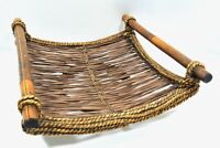 Vintage MCM Rattan Bamboo Serving Decorative Tray Wicker Rope Wood Centerpiece