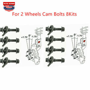 New Front Wheels Cam Bolts 8Kits Adjustable Camber Correction Alignment Kit 12mm