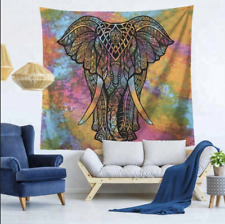 Indian Elephant Head Mandala Tapestry Wall Hanging Bedspread Throw Multi Decor