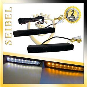LED Tagfahrlicht Set E4 R87 Prüfzeichen Blinker Funktion Smoke schwarz für Saab